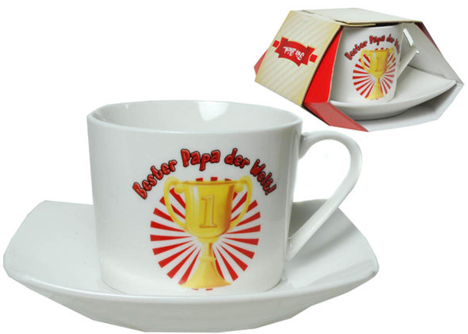 tasse mit unterteller kaffeetasse geschenkidee kaffeebecher m nnertag muttertag ebay. Black Bedroom Furniture Sets. Home Design Ideas